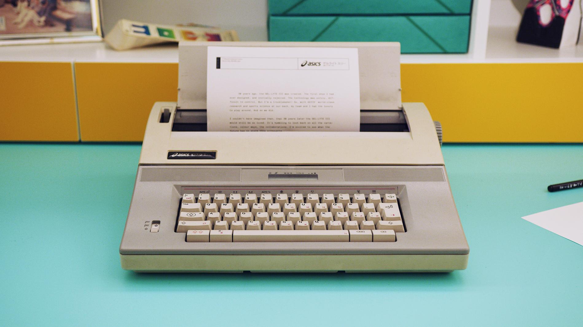 ASICS-GEL-LYTE-III-30-Year-Celebration-22Mitsui-Museum22-Paris-Fashion-Week-2019-–-Office-Space-Detail-Typewriter